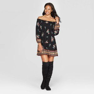 Black Floral Long Sleeve Smocked Top Mini  Dress